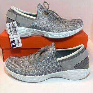 Skechers You Women Ladys Knit Slip on Shoe Grey Wh